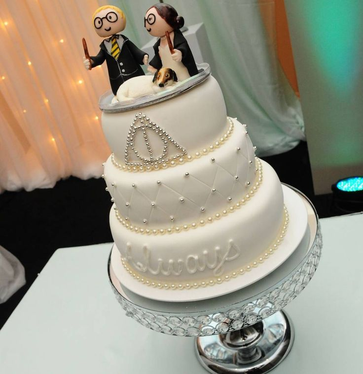 Harry Potter Themed Wedding Cake Always Deathly Hallows Hufflepuff Marries Gryffindor Fur