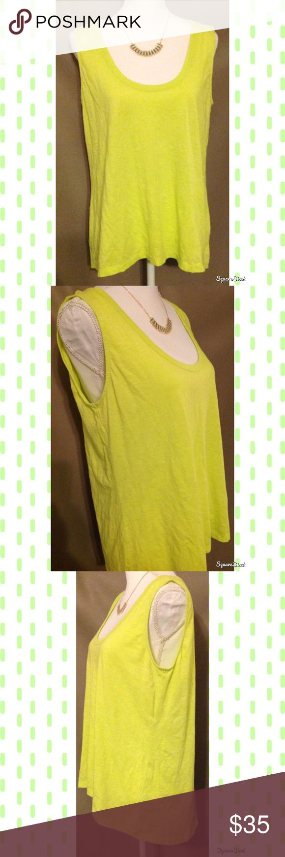Yellow Lilla P Tank Top This bright yellow tank top features a cute keyhole design on the back and a hi-low design which completes a chic look. Super cute with a pair of black skinny jeans! Size: XL; 100% Cotton. Tops Tank Tops