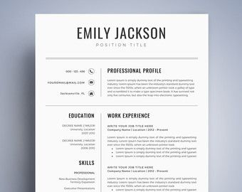 resume template cv template pack cover letter for - Sample Of A Professional Cv
