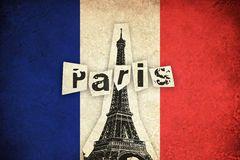 Bandera del Grunge de Francia con la torre Eiffel Imagen de archivo libre de…