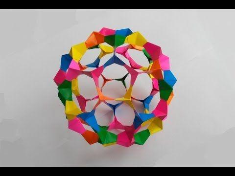 Кусудама из пятиугольников оригами, Kusudama of pentagons origami. - YouTube