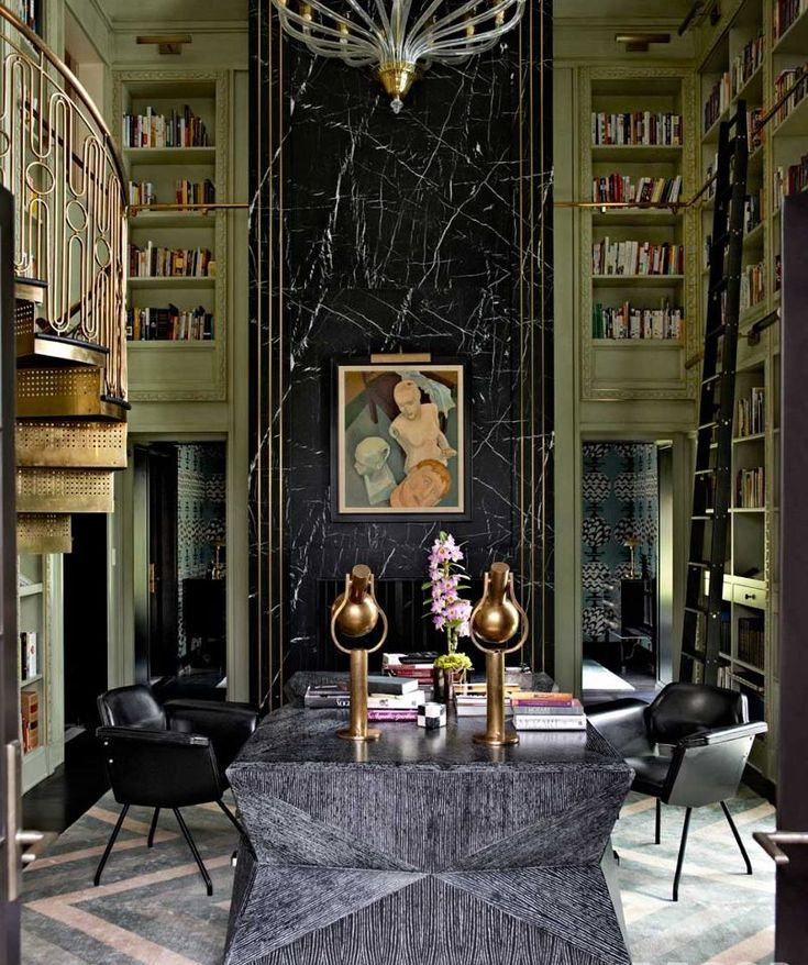 Art Deco interior - stunnning brass rail, color, art, furnishings - Library in the Mercer Island home of Jeff and Laura Sanderson designed by Kelly Wearstler