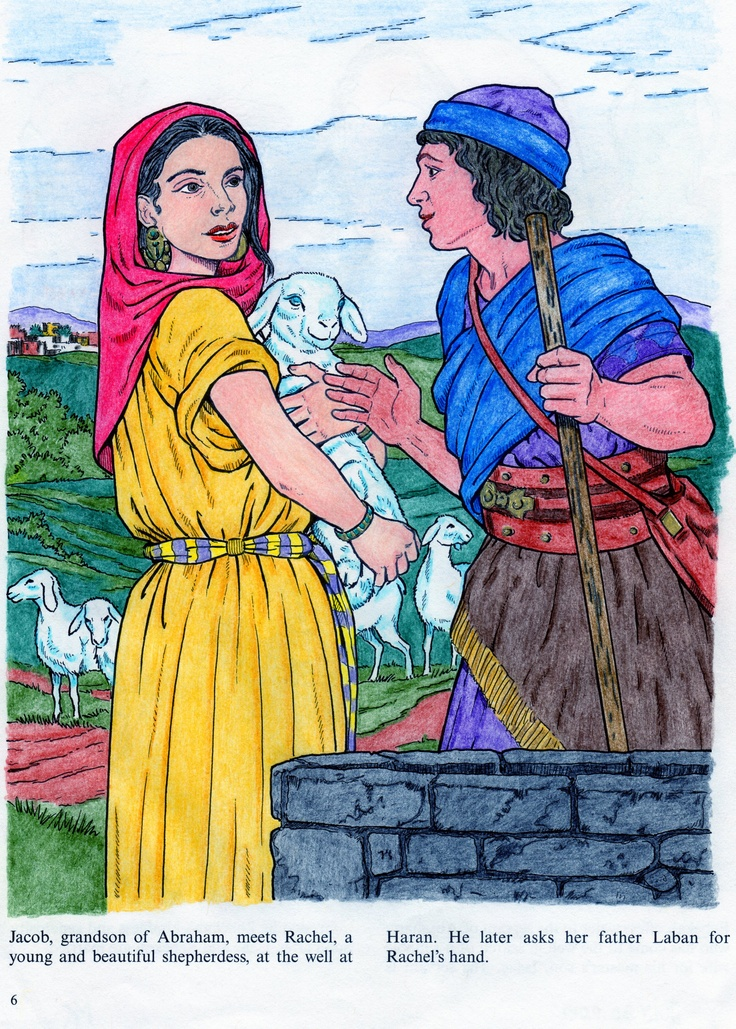 Rachel And Jacob Colored By Pencil Crayons From Women Of The Bible