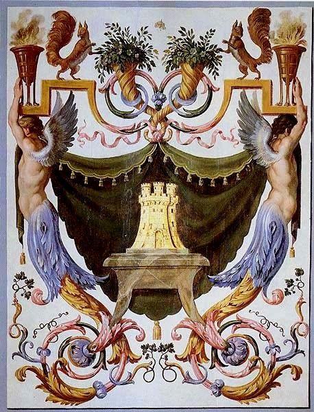 Décor mural d'une pièce de Vaux-le-Vicomte montrant au centre les armes de sa femme,Marie Madeleine de Castille (le chateau) et les siennes: 2 écureuils au sommet du décor.