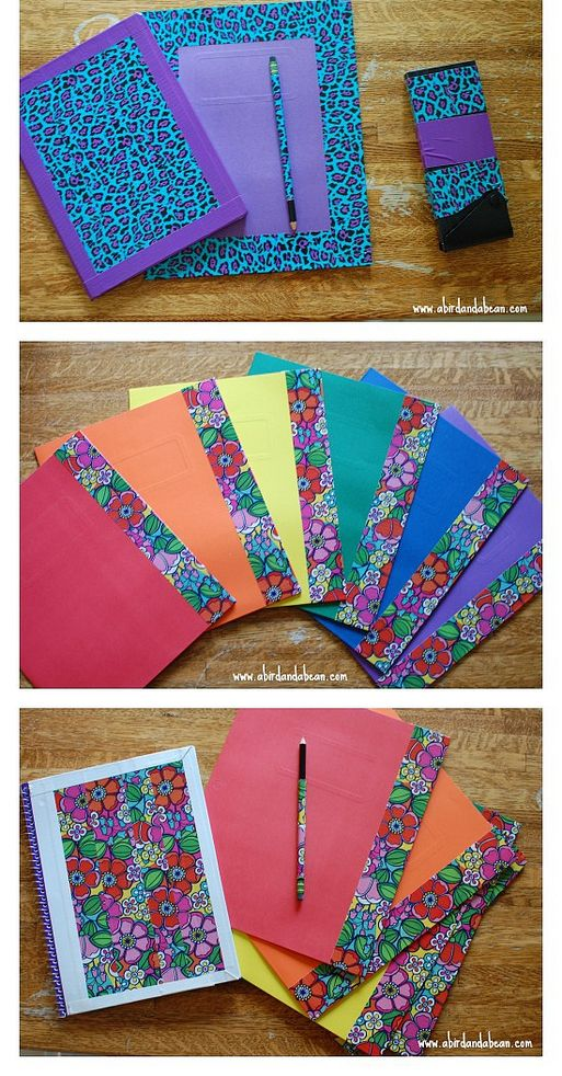 DIY Matching School Supplies Duct Tape creations.