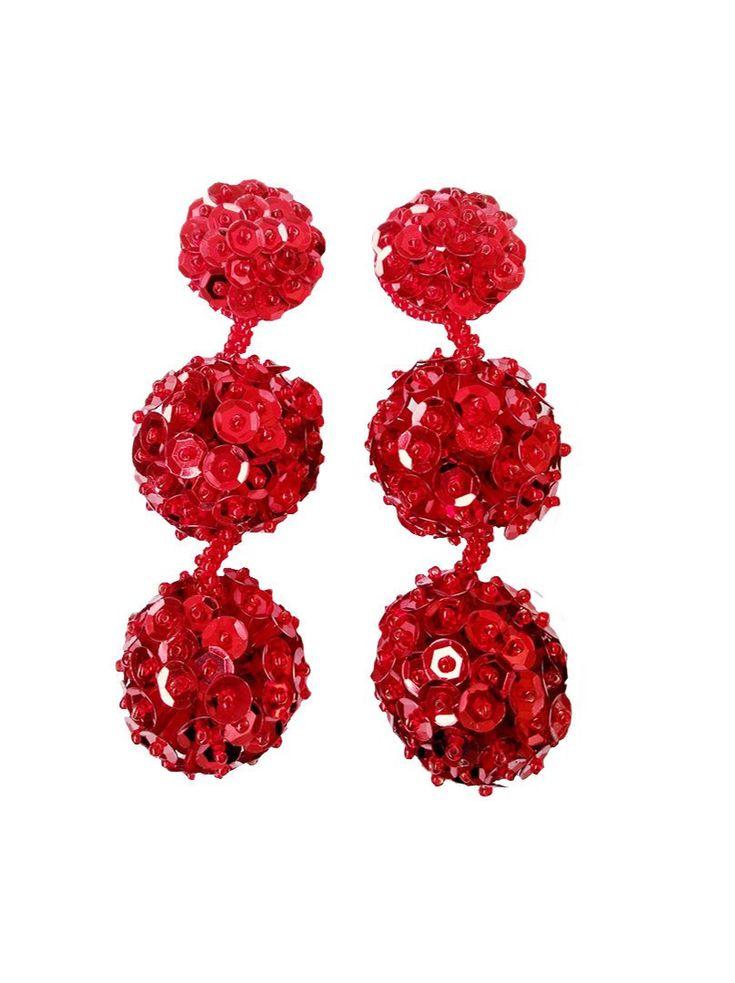 Red pompom earrings bon bon earrings dangle earrings ball earrings long earrings drop earrings bridal earrings bridesmaid earrings pom poms http://etsy.me/2CZLIXB #alinainwonderland #redballearrings #sequins