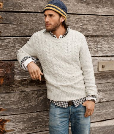 I am totally into the country boy thing, but if he ever wanted to get more cleaned up I think a collared shirt hanging out under a sweater with a pair of jeans is very nice!! I love this look!