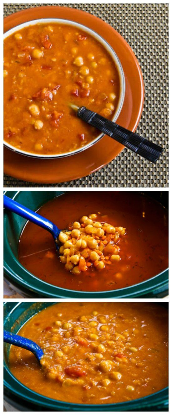 Slow Cooker Red Lentil, Chickpea, and Tomato Soup with Smoked Paprika is one of my favorites! [from Kalyn's Kitchen, featured on SlowCookerFromScratch.com]