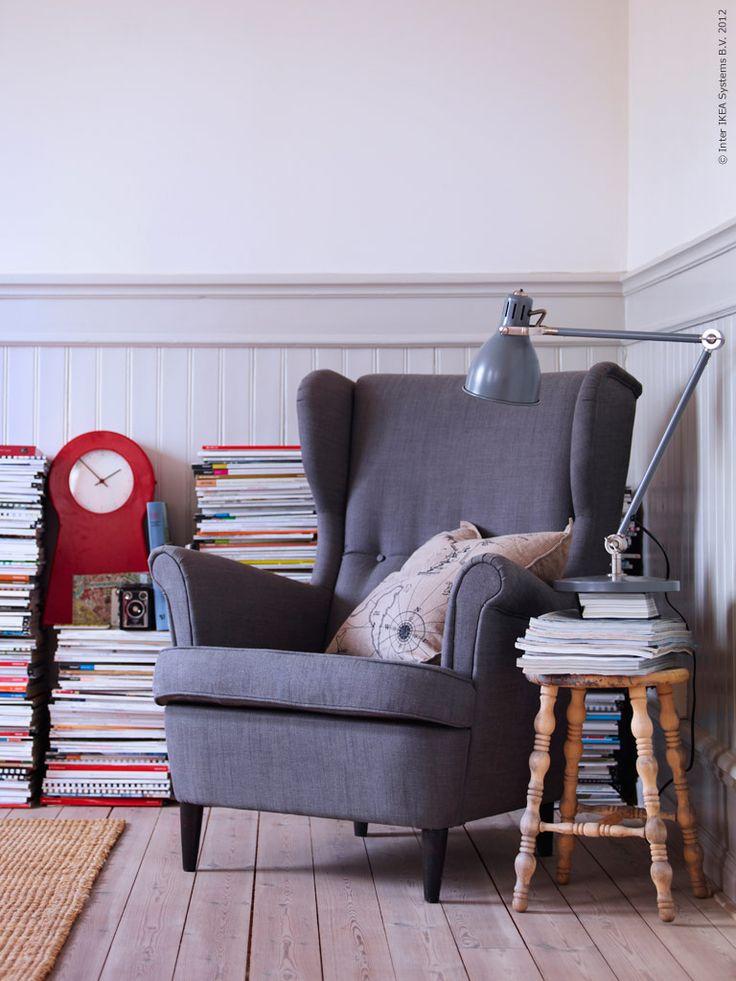 Reading corner: Living Rooms, Ikea Strandmon, Wings Chairs, Blog Tips, Ikea Chairs, Reading Corner, Reading Chairs, Reading Nooks, Wingback Chairs