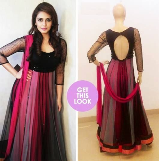 Gorgeous Indian black and pink anarkali with a key-hole back!