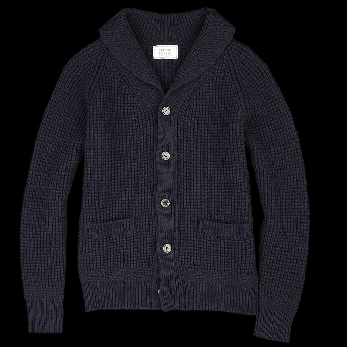 Officine Generale Shawl Collar Cardigan in Navy