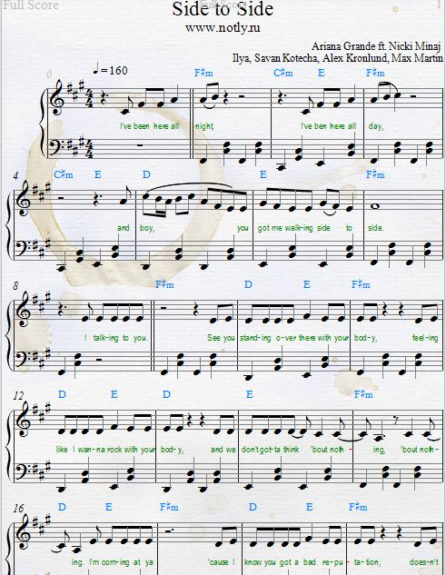 Ariana Grande — Side to Side Download PDF Piano Sheet Music