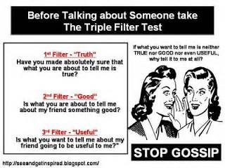 A Biblical definition of gossip: to spread rumors or secrets, speak about someone maliciously behind their back or repeat something about someone else that you have no right to repeat.   Proverbs 16:28 A dishonest man spreads strife, and a whisperer separates close friends. Read more: http://www.whatchristianswanttoknow.com/gossip-bible-verses-15-helpful-quotes/#ixzz35BL5MqeC