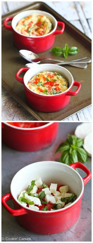 Make-Ahead Caprese Baked Eggs Recipe...184 calories and 5 Weight Watchers PP #vegetarian #breakfast