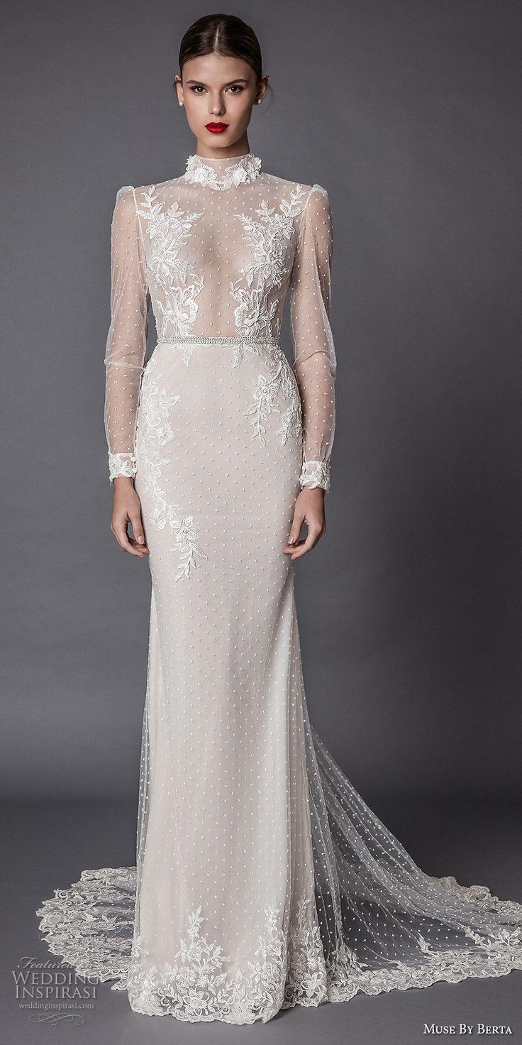 Muse by Berta fall 2017 bridal long sleeves high neck full embellishment beaded elegant sheath wedding dress keyhole back chapel train (amadea) mv #wedding #bridal