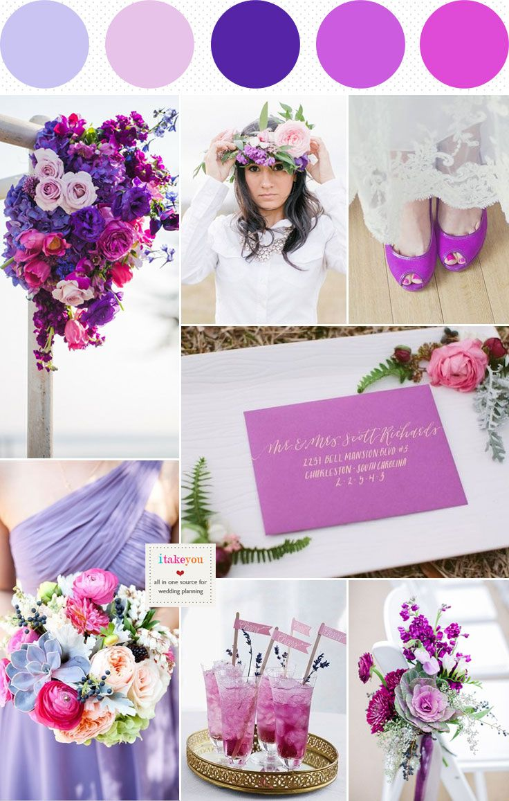 Lovely summer colors palette. Dusty Pink Indigo Lilac and Radiant Orchid Wedding