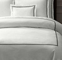 Italian Hotel Satin Stitch White Duvet Cover by Restoration Hardware.