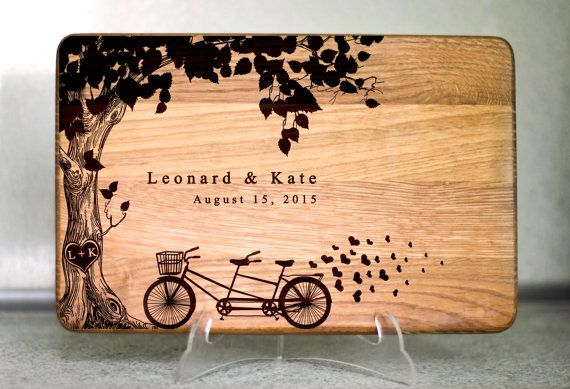 Personalized Cutting Board Wedding Tandem bike Family tree Wedding Gift Laser engraved cutting board Wedding Gift for couple Kitchen decor