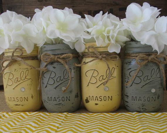 Mason Jars, Ball jars, Painted Mason Jars, Flower Vases, Rustic Wedding Centerpieces, Yellow and Grey Mason Jars