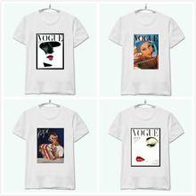 Mujeres camiseta Vogue Vintage Poster impresión de algodón Casual divertido Tee superior Whtie inconformista Plus Size envío directo HH305-146(China (Mainland))