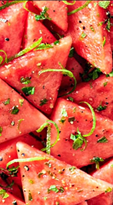 #NationalWatermelonDay Mojito Watermelon - a must have side dish for summer barbecues! #citrussplash
