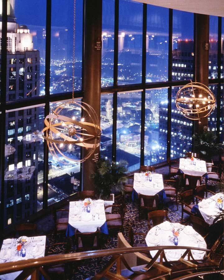 Eat At The Sun Dial Atlanta S Only Tri Level Dining Complex Featuring A Revolving Upscale Restaurant Rotating Tail Lounge