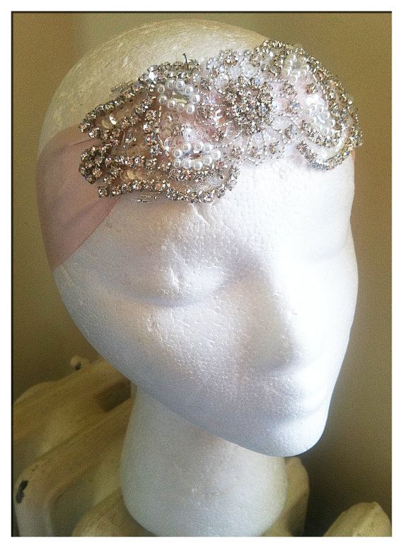DECO Crystal and Pearl Headpiece/Headband-Different Color Silks Available-Vintage Bride 1920s Wedding The Great Gatsby