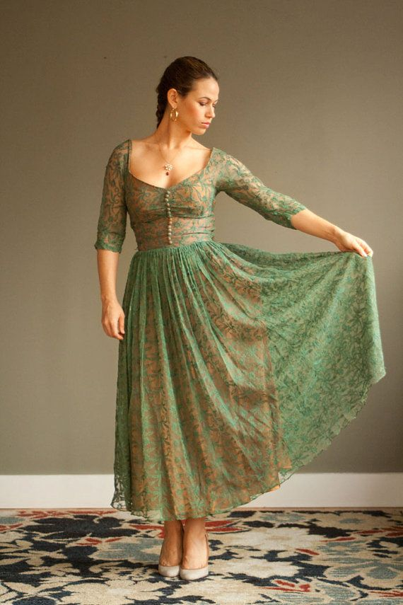 1950s Green Lace Dress by NeonMamacitaVintage on Etsy, $255.00