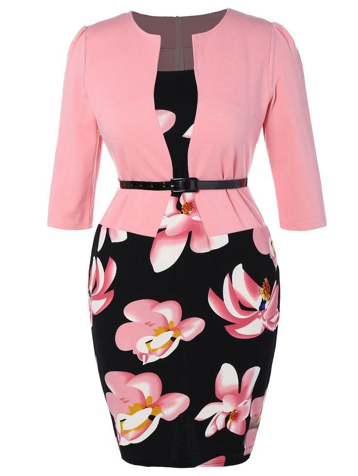 Plus Size Mid Length Pencil Peplum Dress - PINK 2XL