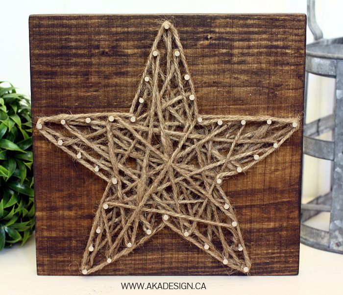 A very easy and fun DIY - String Art Star. Using wood, nails and string.