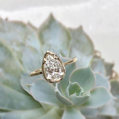 Vale Jewelry custom pear cut white diamond engagement ring