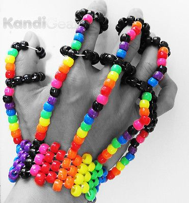 Rainbow-Fingerlets-Kandi-From-KandiGear-Kandi-bracelets-Rave-Gear-Wear