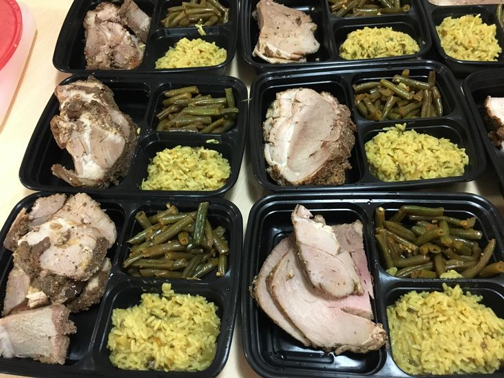 Pork lion buffalo green beans and yellow rice