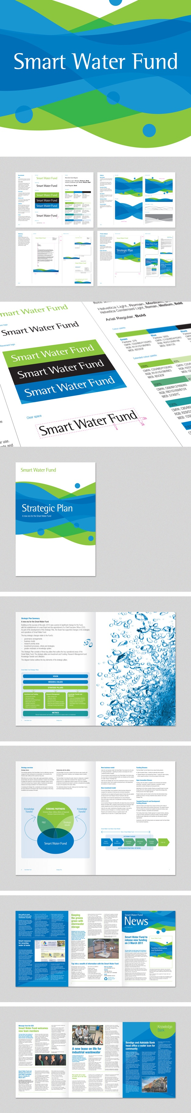 Branding, guidelines and collateral for the Smart Water Fund. www.fenton.com.au #communication #PR #branding #graphicdesign