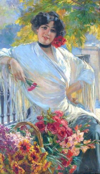 Woman with Flowers by Ulpiano Checa y Sanz