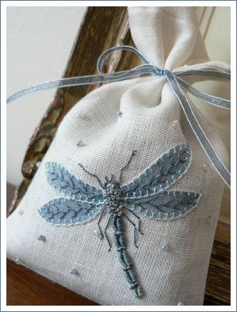 dragonfly, sachet, embroidery Beautifully done!!! Would look GREAT on a Crazy Quilt patch.!!