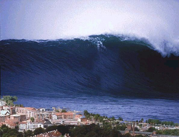 The most destructive waves in the ocean are  tsunamis, often wrongly  called tidal waves. They are not caused by tides or even by the wind,  but by underwater earthquakes, landslides or volcanic eruptions.