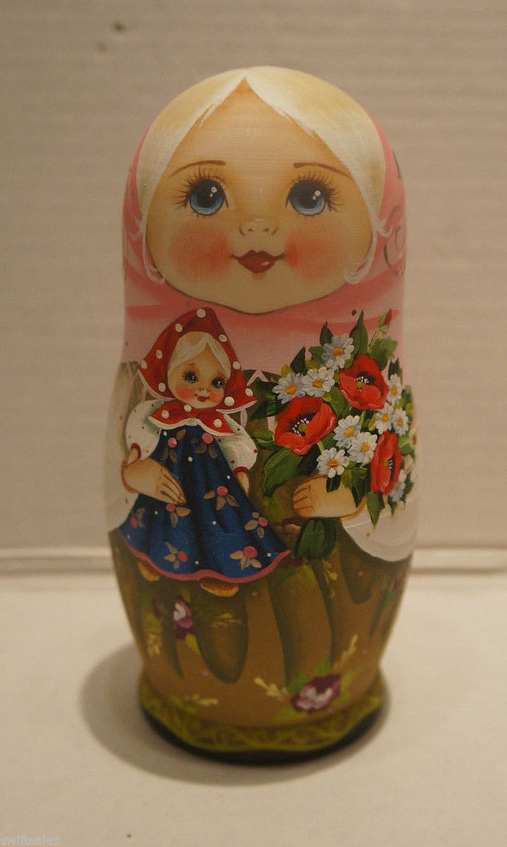 Russian Matryoshka - Wooden Nesting Dolls - 5 Pieces Unique Coloring - Set #11 | eBay