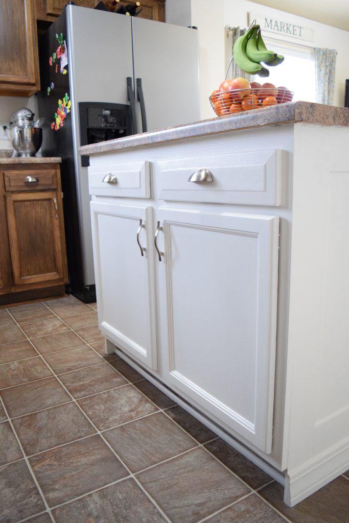 add molding to a builder grade kitchen island an easy how to kitchen island makeover builder on kitchen island ideas kids id=77335