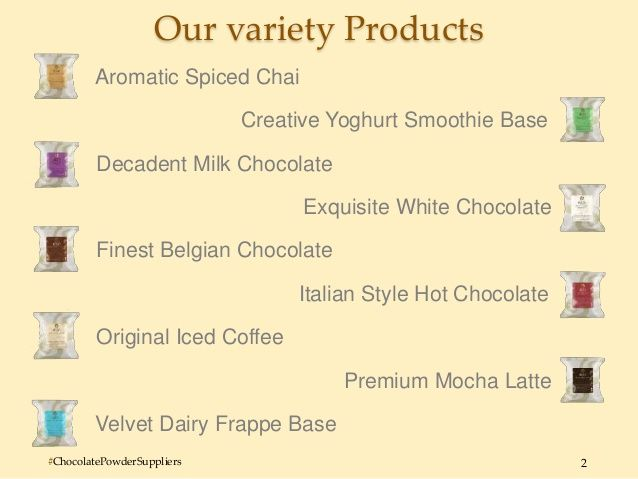 Australia's Frappe Base Suppliers provides nine different ranges of bases to create different types of chocolate bases and frappe bases. These products are made by experts R&D team and delivered all around the world from more than three decades. For the betterment of customers they also provide written recipes as well as videos. They are one of the best suppliers of chocolate powders, frappe bases and smoothie bases.