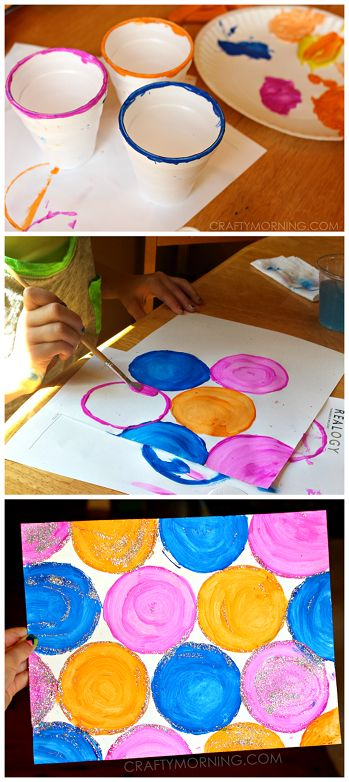 Easy Circle Cup Painting for Kids (Inspired by Kandinsky) | CraftyMorning.com
