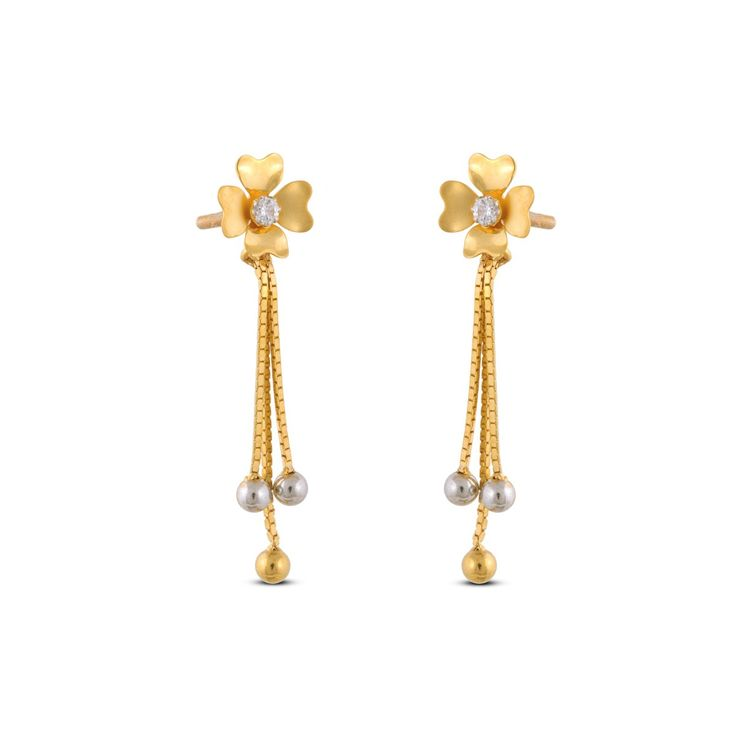 Pavane Floral Gold Hanging Earring | Gold & CZ Earrings ...
