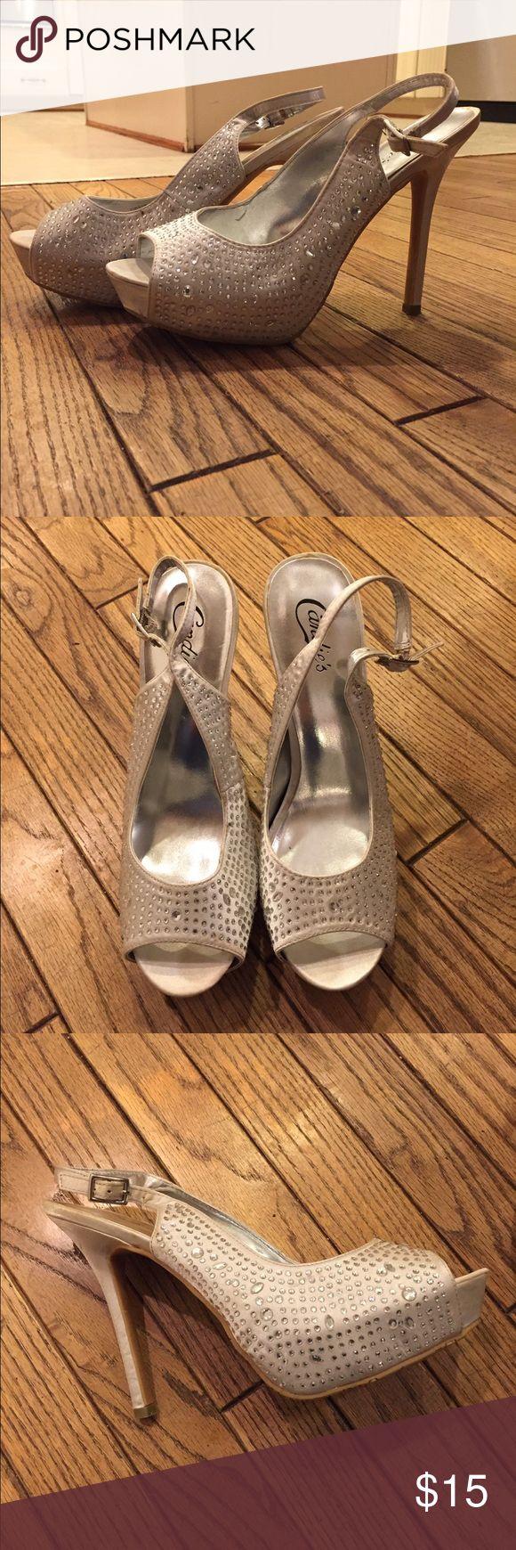 Candies Silver Heels Silver heels from Candies brand. Platform heels. Covered in rhinestones. Candie's Shoes Heels