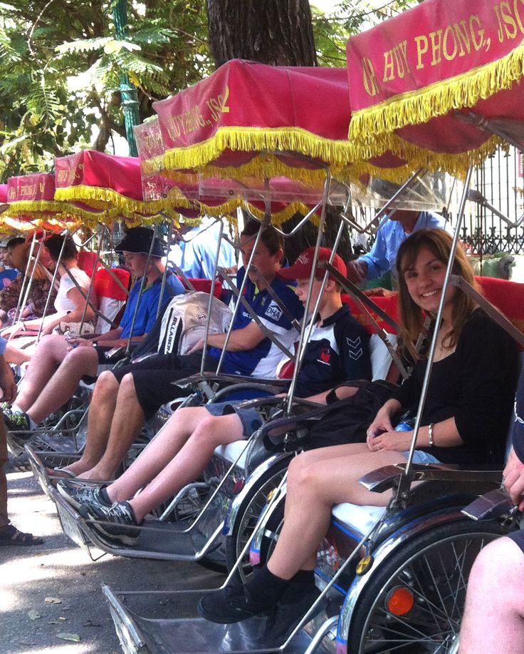 Hanoi City Tour by Cyclo. #HaNoi #CityTour #VietnamSchoolTours