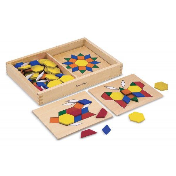 Volg een van de tien ontwerp sjablonen of maak je eigen mozaïek kunstwerk met behulp van de 120 kleurrijke houten patroonblokken van Melissa & Doug. Een leuke manier om de fijne motoriek te ontwikkelen!  Deze te koop bij de Bezige Bijtjezzz te Zwolle.