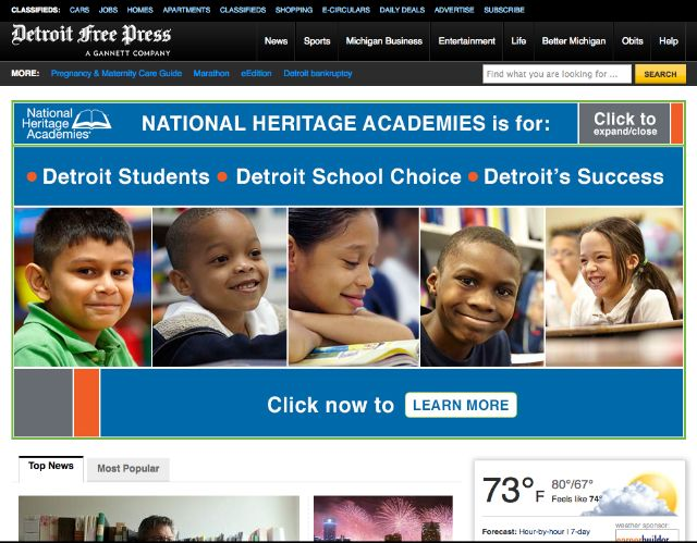 UPDATED x2: As Detroit Free Press does week-long exposé of charter schools, National Heritage Academies buys up all its ad space. TheDetroit Free Pressis running aspectacular, week-long series on charter schools in Michiganand the woeful lack of oversight and accountability our state exercises when it comes to charters. While some states have outright bans on for-profit schools, 61% of Michigan charter schools are run by for-profit corporations and over a third are in the bottom 25% of…