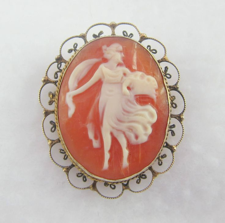 Gilt over Sterling Silver Filigree Shell Cameo Pendant/ Brooch  with Goddess-as it is by Framarines on Etsy