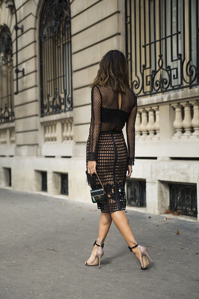 aimee_song_of_style_self_portrat_lace_top_greylin_skirt_gianvito_rossi_bow_heels http://FashionCognoscente.blogspot.com