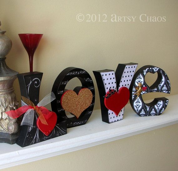 Unfinished Wood LOVE Letters Valentine Decor by artsychaos on Etsy,