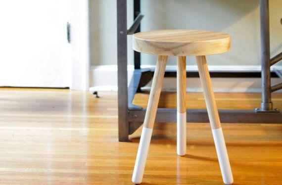 Dining Stool - White Ash / Kitchen / Bedroom / Side Table / End Table / Three-Legged / Minimal / Modern